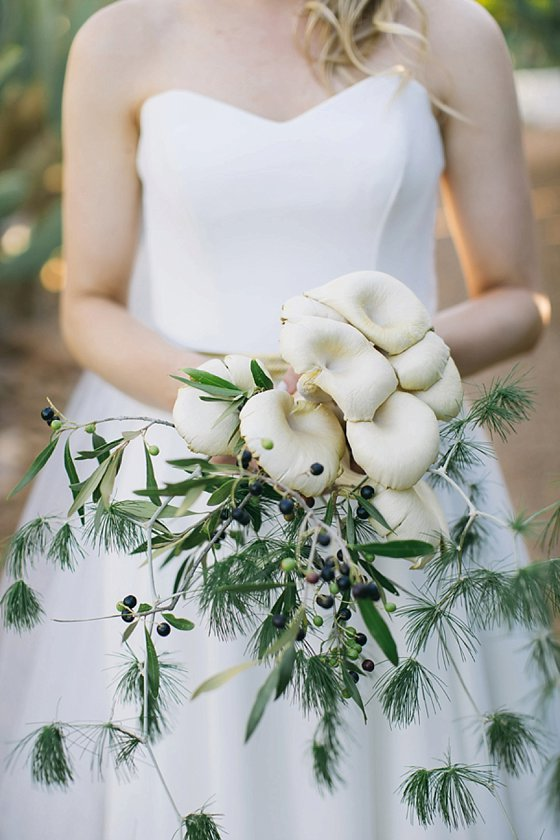 Babylonstoren wedding - mushroom bouquet